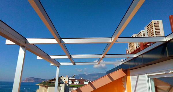 Каркас из алюминия для стеклянной крыши